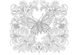 Find Butterfly Floral Ornament Adult Antistress Coloring stock images in HD and millions of other royalty-free stock photos, illustrations and vectors in the Shutterstock collection. Thousands of new, high-quality pictures added every day. Cute Coloring Pages, Flower Coloring Pages, Adult Coloring Pages, Coloring Books, Spring Pictures To Color, Colorful Pictures, Black And White Doodle, Butterfly Coloring Page, Popular Flowers