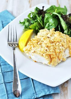Salt and Vinegar Chip Crusted Baked Fish - sounds awesome... wonder if I can get my husband to try this...