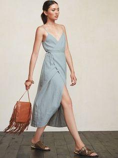 Look Fashion, Fashion Outfits, Womens Fashion, Gothic Fashion, Linen Dresses, Casual Dresses, Women's Casual, Charlotte Dress, Wrap Dress
