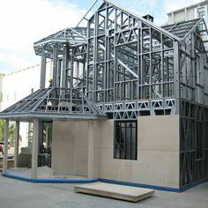 Estructuras en Drywall Pole Barn House Plans, Pole Barn Homes, Steel Frame House, Steel House, Metal Building Homes, Building A House, Building Materials, Steel Structure Buildings, Metal Structure