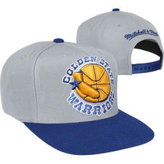 Golden State Warriors Cool Grey Mitchell Ness 2 Tone XL Snapback Hat