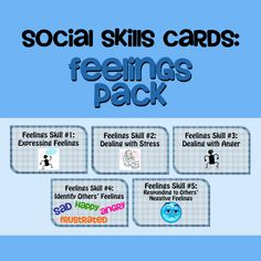 Free printable social skills cards addressing expressing your own feelings, dealing with stress, dealing with anger, identifying others feelings, and responding to other's negative feelings