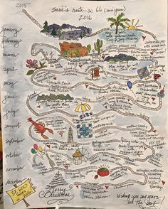 My watercolor sketch of my Route (to) 66, highlighting my 2016 travels - all 37,000 miles!