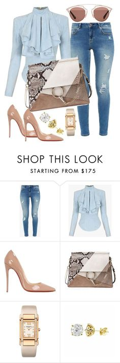 """""""When More is Less"""" by styledbytammy ❤ liked on Polyvore featuring Ted Baker, Balmain, Christian Louboutin, Chloé, Patek Philippe and Christian Dior"""