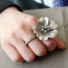 unique double flower ring