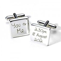 """Our """"You & Me"""" personalised wedding cufflinks engraved with the time and date or your wedding day"""