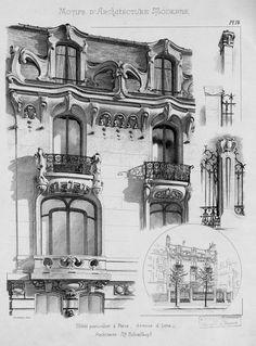 Motifs d'architecture moderne | Noe, L. Modern Architecture Design, Sacred Architecture, Architecture Drawings, Historical Architecture, Architecture Plan, Art Deco, Art Nouveau, Stone Houses, Art Reference Poses
