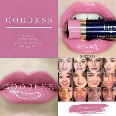 SeneGence's Goddess lipsense is a cool-toned, matte, soft pink with a purple undertone. Gloss Lipstick, Matte Lips, Liquid Lipstick, Lipsticks, Lipsense Goddess, Lipsense Glossy Gloss, Lipsense Pinks, Lipsense Colours, Senegence Makeup