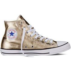 Converse Chuck Taylor All Star Metallic – light gold Sneakers ($65) ❤ liked on Polyvore featuring shoes, sneakers, converse, light gold, shiny shoes, metallic sneakers, polish shoes, star sneakers and light gold shoes