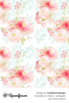 Customize your own home decor, #wallpaper and #fabric at Spoonflower. Shop your favorite indie designs on #fabric, #wallpaper and home decor products on Spoonflower, all printed with #eco-friendly inks and handmade in the United States. #patterndesign #textildesign #pattern #digitalprinting #homedecor #indy #bloom #pink #plush #florals Baby Girl Quilts, Girls Quilts, Flower Wallpaper, Fabric Wallpaper, Stoff Design, Custom Printed Fabric, Watercolor Rose, Handmade Home Decor, Surface Pattern Design