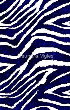 Animal Print Zebra Blue and White