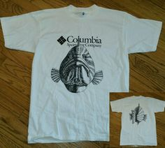 b5b15fecf90a Columbia Sportswear fishing white t-shirt Men s Large 2-sided fish face  tail new