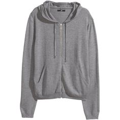 H&M Fine-knit hooded jacket ($17) ❤ liked on Polyvore featuring jackets, h&m, hoodies, outerwear, sweaters and grey marl