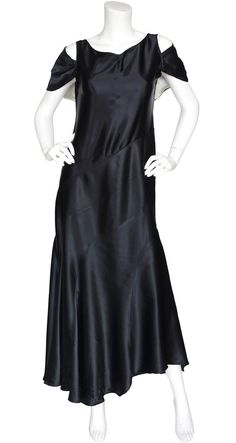 1920s 1930s Capelet Black Silk Satin Bias Evening Gown. Available on Featherstone Vintage.