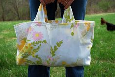 this grocery tote is made with an old pillow case........no more pillowcases to good will!