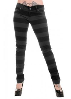 Run & Fly Black & Grey Prison Stripe Stretch Skinny Jeans