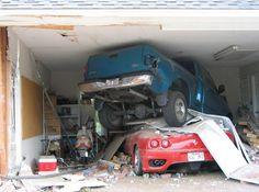 Car crash in garage