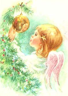 Vintage Christmas Card Pretty Little Angel Pink Wings Ornament. $18.00, via Etsy.