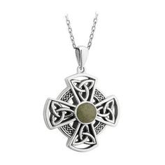 Sterling Silver Connemara Marble Celtic Cross Pendant Necklace - Celtic By Design Round Pendant, Cross Pendant, Marble Jewelry, Connemara, Celtic Knot, Metal Chain, Sterling Silver Chains, Pendant Necklace, Jewels