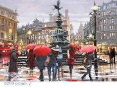 'Piccadilly' by Richard Macneil - a new artist recently added to the Indigo Collection. London Painting, Street Painting, Rainy City, Urban Painting, Art Terms, Umbrella Art, City Scene, Beautiful Paintings, Pastel Paintings