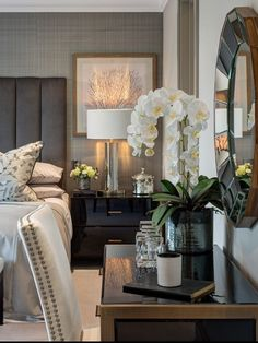 Black White Bedrooms, Best Interior, Interior Design, Grey Headboard, Master Bedroom Design, Luxury Living, Luxury Furniture, Design Projects, Living Room Decor