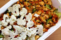 Famózna FIT večera: Zapekaná brokolica s kuracím mäskom - Fitshaker Cauliflower, Vegetables, Fitness, Food, Diet, Cauliflowers, Essen, Vegetable Recipes, Meals