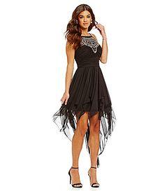 65087d64ba55b B Darlin Crystal Illusion Yoke Hanky Hem Dress  Dillards Junior Homecoming  Dresses