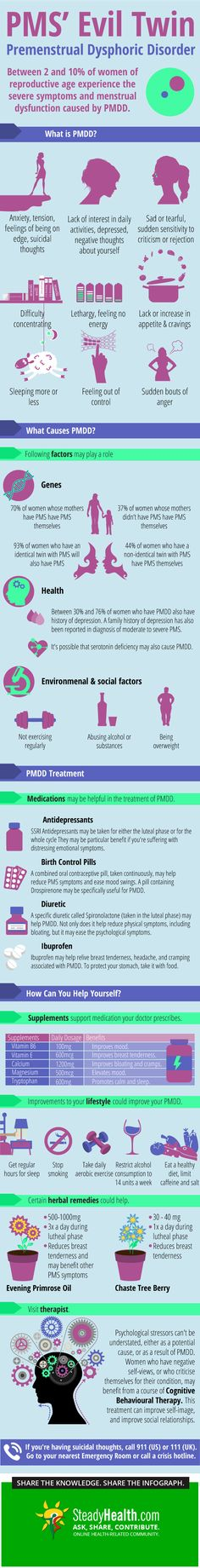 Premenstrual Dysphoric Disorder (PMDD) is the more severe sister of Premenstrual Syndrome (PMS). Here we look at how it can interfere with your life, and examine what you can do about it.