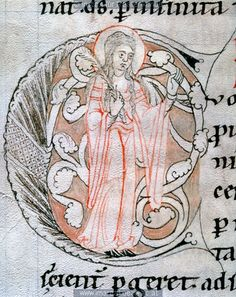 12th century (1185-1195) Austria - Heiligenkreuz Abbey  St Gallen Stiftsbibliothek ?  cod. 11  initial (C?) with a female figure   http://tethys.imareal.oeaw.ac.at/realonline/   cod. 11  initial (C?) with a female figure  http://tethys.imareal.oeaw.ac.at/realonline/ no. 003284