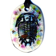 Trilobite Ceramic Necklace in Multicolor Crackle by surly on Etsy, $18.00
