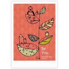 """Carina Povarchik """"Be You"""" Coral Kids Fine Art Gallery Print from KESS InHouse"""