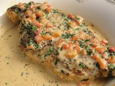 "Chicken in Basil Cream...YUM!  Garden tomatoes and fresh basil are so plentiful right now.  Can't wait to make this.  I will be omitting the pimento from the recipe since I am ""anti"" pimento...smile.  Everything else sounds like perfection!!!"