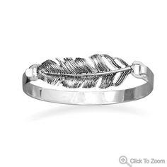 Oxidized Feather Fashion Bangle Bracelet