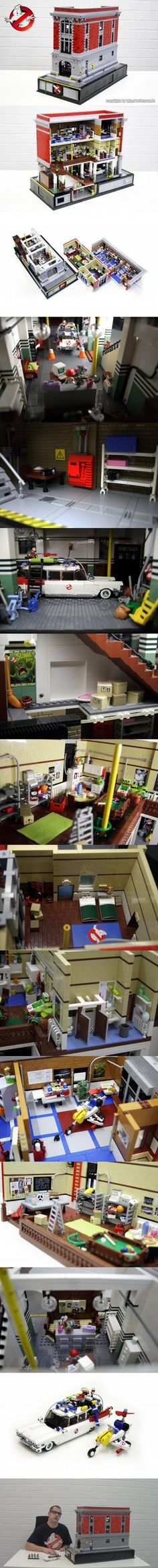 I'm jealous, frightened & in lovewith the level of geek shown here ...   LEGO Ghostbusters HQ & Vehicles