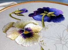 Trish Burr pansies, embroidery by Margaret Cobleigh, on Needle 'n Thread