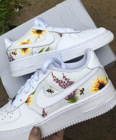 Sunflowers and Lavender with Bumble Bees Air Force by immylouisedesigns Nike Air Force, Air Force 1, Air Force One Shoes, Cute Nike Shoes, Nike Air Shoes, Cute Sneakers, Custom Painted Shoes, Custom Shoes, Painted Sneakers