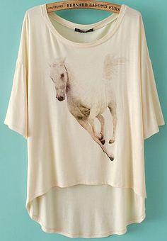 Beige Batwing Sleeve Horse Print Dipped Hem T-Shirt - Fashion Clothing, Latest Street Fashion At Abaday.com