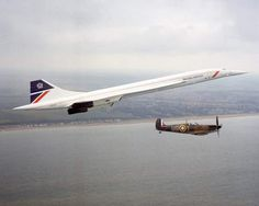A special formation to mark the 50th Anniversary of the Battle of Britain was flown along the south coast on 13 June 1990 with a British Airways Concorde and a Spitfire of the Battle of Britain...