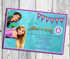 Items similar to Rapunzel Tangled Invitation, Printable, for Tangled Themed Birthday Party, More Tangled Invitations available on Etsy Tangled Birthday Party, Birthday Fun, Birthday Party Themes, Girls Party Invitations, Print Your Own Invitations, Party Items, Baby Party, Custom Items, Rapunzel