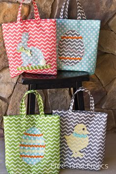 Easy Sew Easter Tote DIY is part of Easter Sewing crafts - Easy sew Easter Totes are perfect for Easter Egg hunting Personalize your own Using Grocery bag fabric makes them light and easy to use for kids Easter Projects, Easy Sewing Projects, Sewing Projects For Beginners, Sewing Hacks, Sewing Crafts, Sewing Tips, Easter Ideas, Diy Easter Bags, Easter Crafts To Make