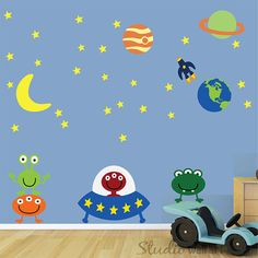 REUSABLE Alien Wall Decal - Aliens Wall Decal -  Childrens Space Wall Decal - SK305SWA. $134.00, via Etsy.