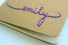 Embroidered Name Journal - 53 Ideas for DIY Journals, Diaries, Smash Books and All the Extras . Paper Embroidery, Learn Embroidery, Embroidery Patterns, Envelope Book, Diy Envelope, Diy Paper, Paper Crafts, Handmade Books, Handmade Gifts