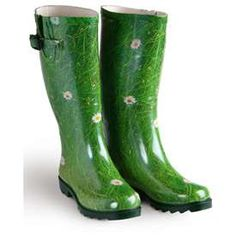 Green rain boots #green