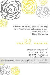 gray yellow baby shower invitations, bridal shower, wedding, birthday, announcement