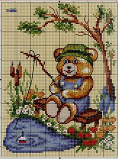 / Gone Fishing! Cross Stitch Gallery, Cross Stitch Designs, Cross Stitch Patterns, Cross Stitch Animals, Cross Stitch Flowers, Cross Stitching, Cross Stitch Embroidery, Chart Design, Adult Crafts