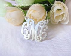 Personalized CMC Sterling Silver Monogram necklace Rose Gold Monogram necklace Gold Monogram necklace