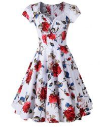 Retro Sweetheart Neck Short Sleeve Pin Up Dress For Women (RED,2XL) | Sammydress.com Mobile