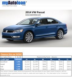 Last may the 2014 VW Passat was #1 in financing request... Finance your Passat at www.myautoloan.com