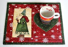 Christmas Mug Rug Quilted Santa Mug Rug Red by RedNeedleQuilts