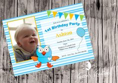 Personalised Hoot invitation $1.00 each printed, laminated, magnet & enveloped or digital file available for purchase. Vinyl Designs, Rsvp, Envelope, Invitations, Printed, Digital, Birthday, Frame, Party